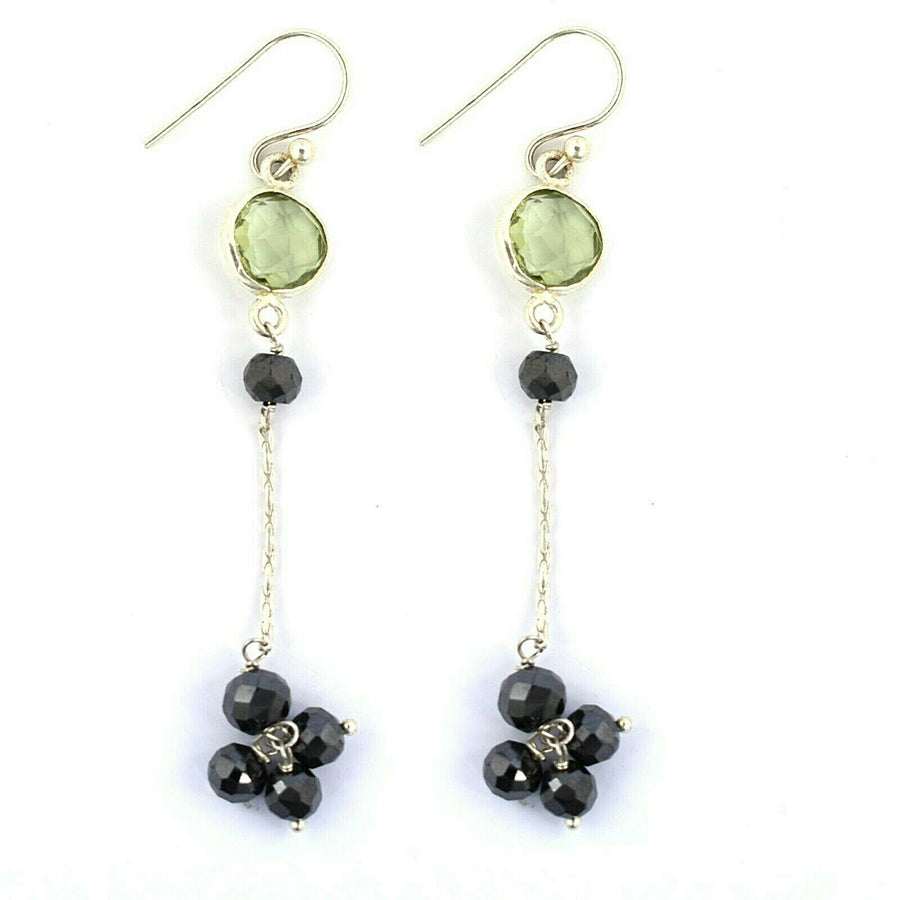 Black Diamond Dangler Earrings With Green Amethyst In 925 Silver