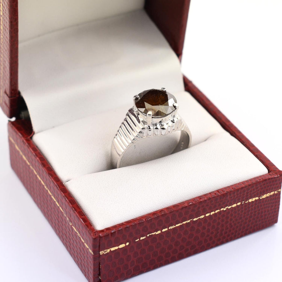 3.50 Ct Champagne Diamond Solitaire Ring, Men's Ring - ZeeDiamonds