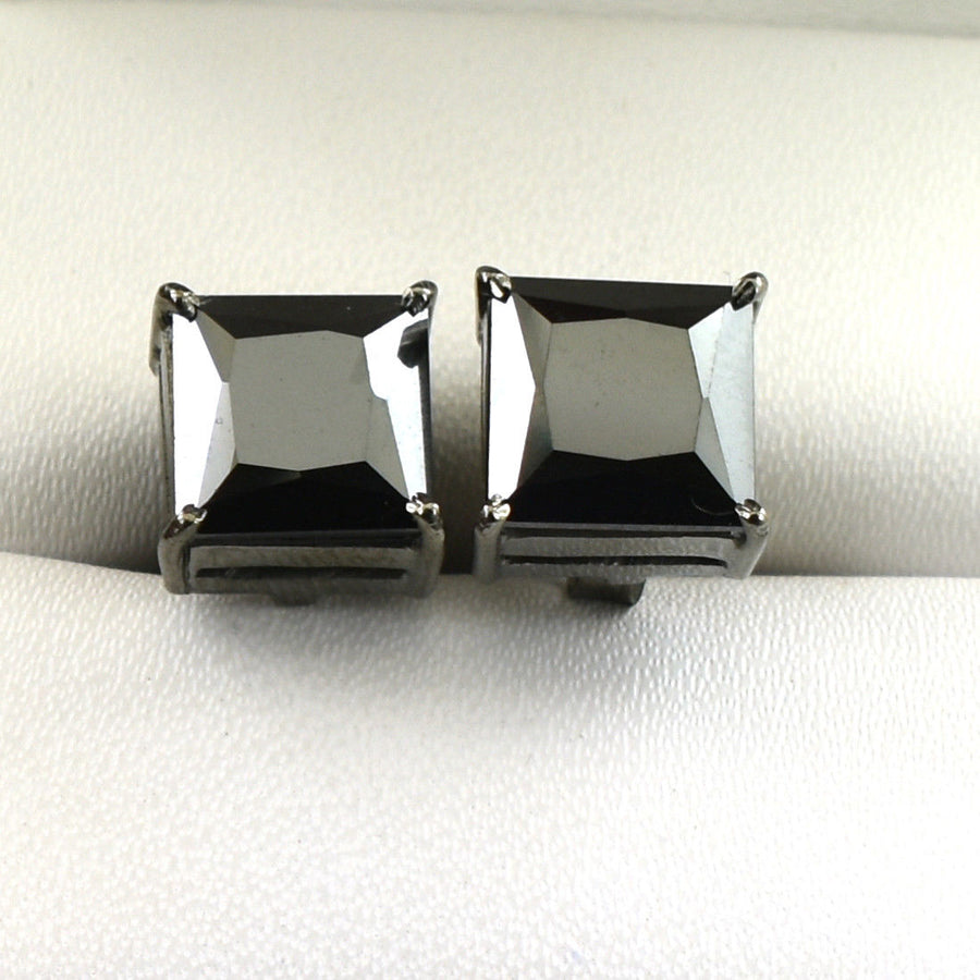 4 Carats Certified Princess Cut Black Diamond Studs Earrings - ZeeDiamonds