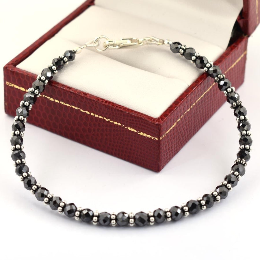 4 - 4.5 mm Certified Black Diamond Beads Great Shine Silver Goli Bracelet - ZeeDiamonds