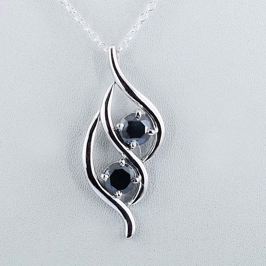 1.50 Cts Certified Black Diamond Pendant in 925 Sterling Silver Beautiful Shine! - ZeeDiamonds