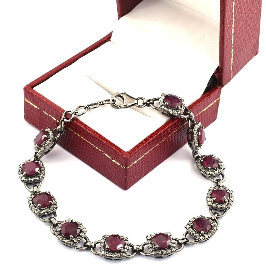 Natural Ruby Gemstone Tennis Bracelet With White Diamonds - ZeeDiamonds
