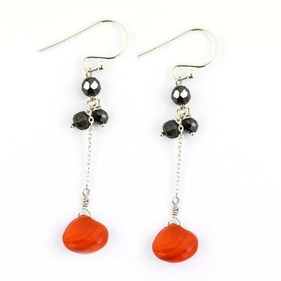 11.45 Ct Black Diamond & Carnelian Drops Dangler Earrings - ZeeDiamonds