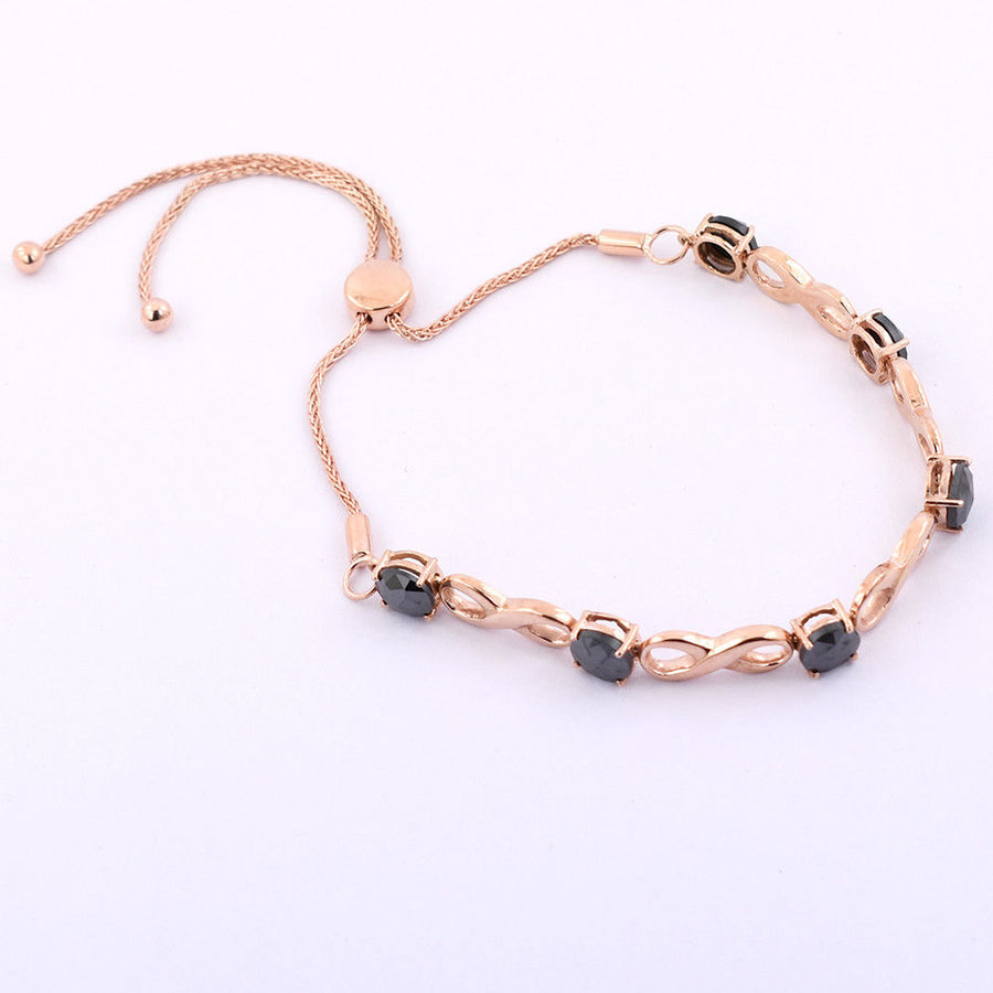 6 Ct AAA Black Diamond Infinite Bracelet In Rose Gold