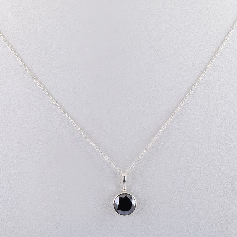 2 Cts Certified Black Diamond Pendant in Bezel Setting, Beautiful Look - ZeeDiamonds