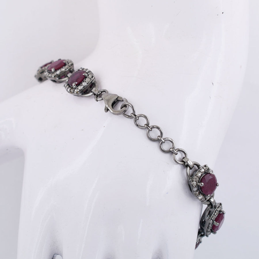 Natural Ruby Gemstone Tennis Bracelet With White Diamonds