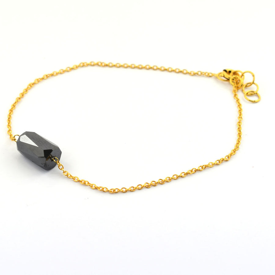 3 Ct, 9-6 mm Pipe Cut Black Diamond Silver Chain Bracelet In Yellow Gold Finish - ZeeDiamonds