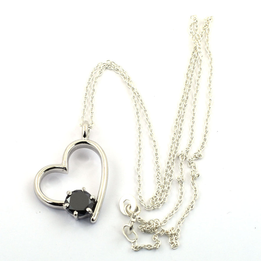 Heart Shape Black Diamond Solitaire Pendant Lovely Design!! Great Lustre! 1.5 ct - ZeeDiamonds