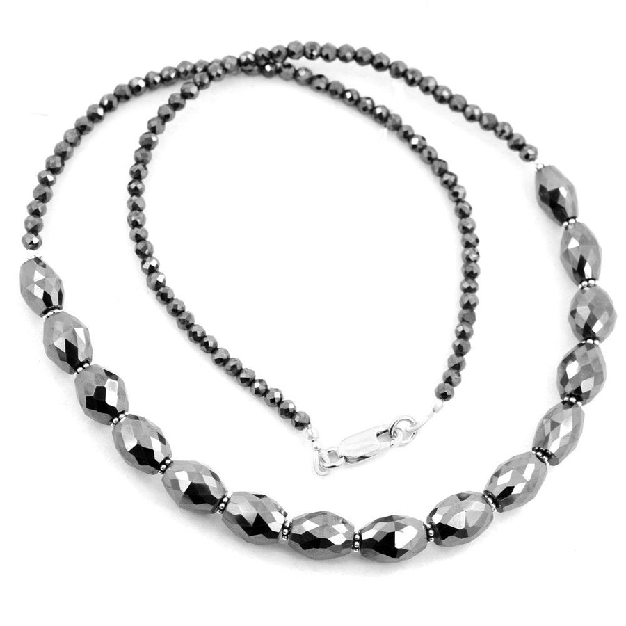 Round Cut 18 inch Certified Earth Mined, Black Diamond Necklace - ZeeDiamonds