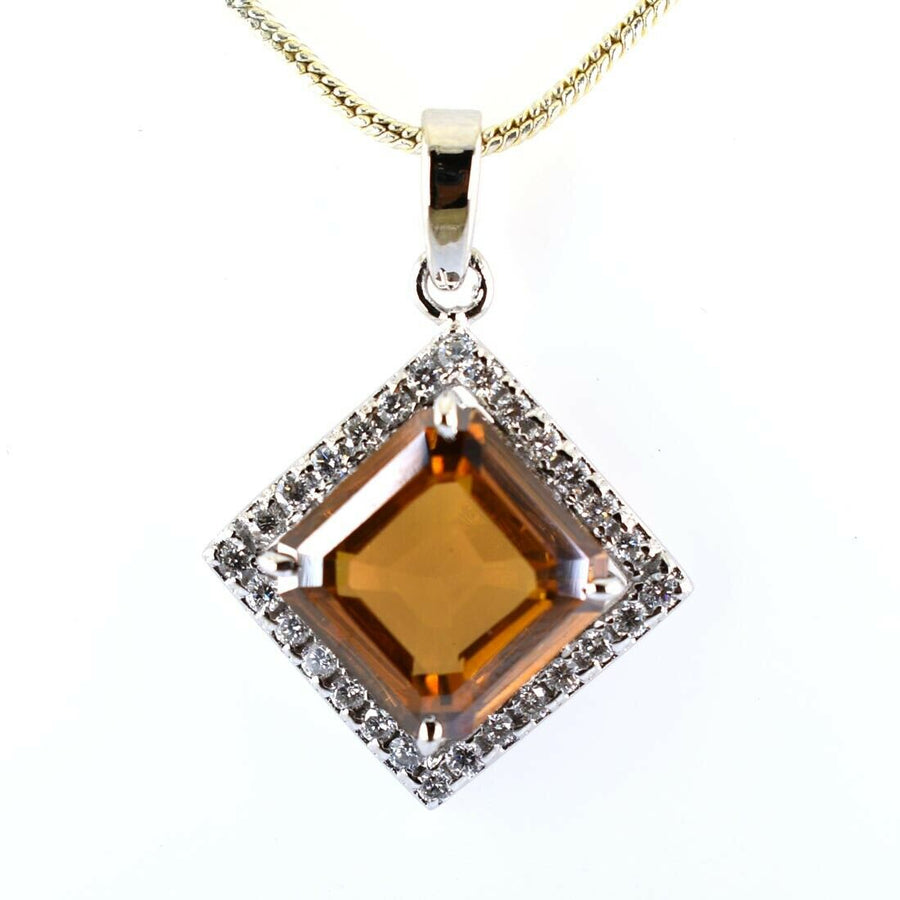 10.04 Ct Champagne Diamond Pendant with VVS White Diamonds Accents - ZeeDiamonds