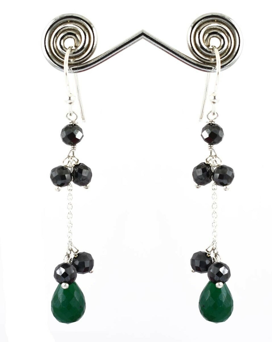 Black Diamond with Emerald Gemstone Chain Earrings For Women Gift - ZeeDiamonds