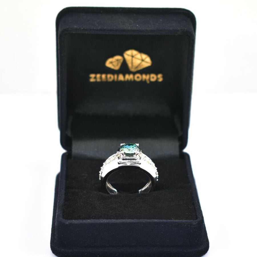 1.10 Ct Blue Diamond Solitaire Ring With White Diamond Accents - ZeeDiamonds
