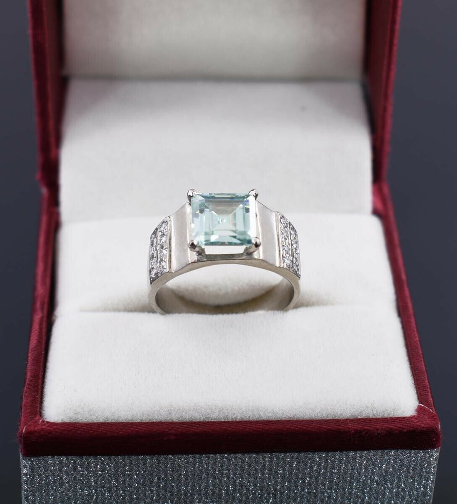 2.65 Ct Blue Diamond Solitaire Ring with White Diamond Accents - ZeeDiamonds