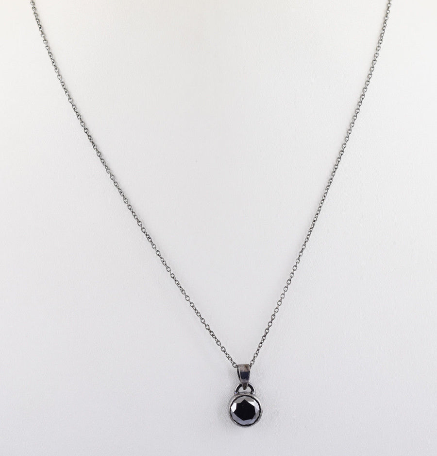 3.1 Ct Certified Black Diamond Solitaire Pendant, Earth Mined Certified Diamond - ZeeDiamonds