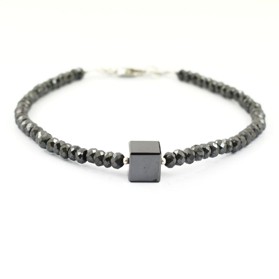 30 Carat Cube Shape Black Diamond Bracelet In 925 Sterling Silver - ZeeDiamonds