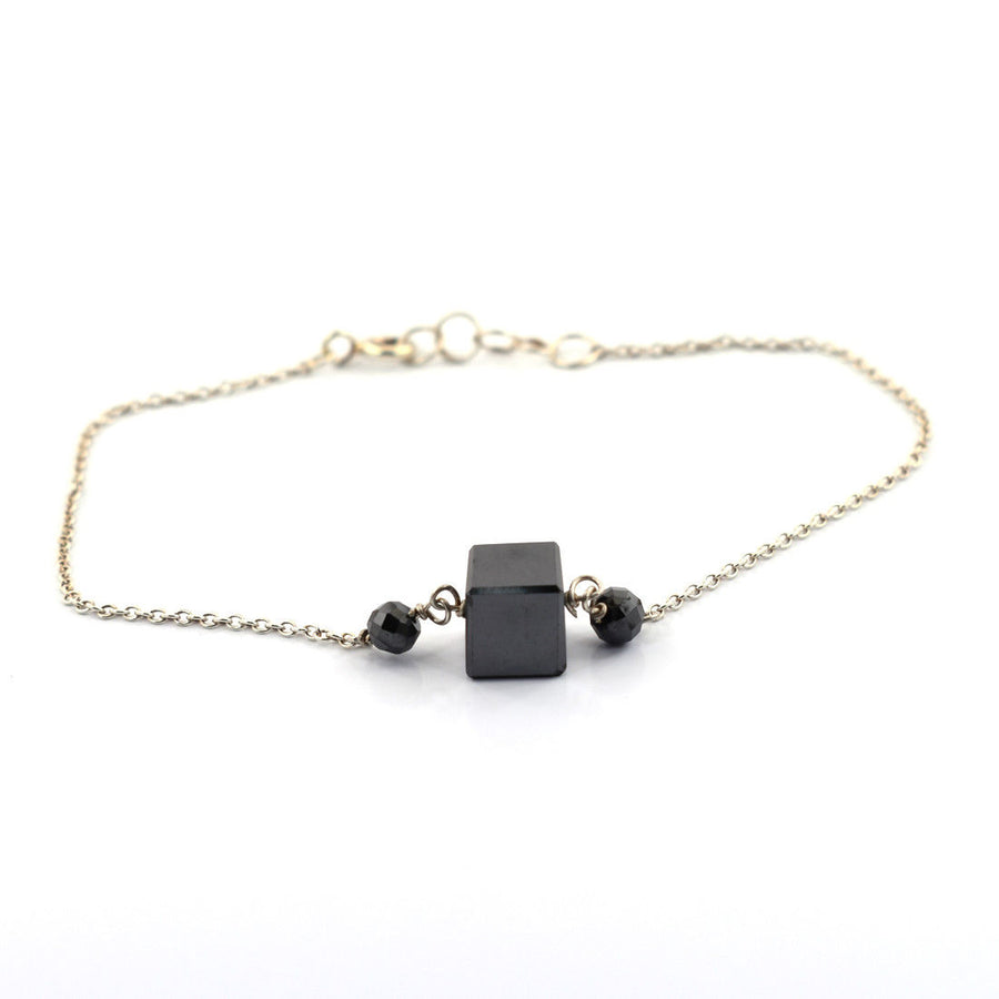 9.50 Cts Cube Shape Black Diamond Bracelet in Sterling Silver - ZeeDiamonds