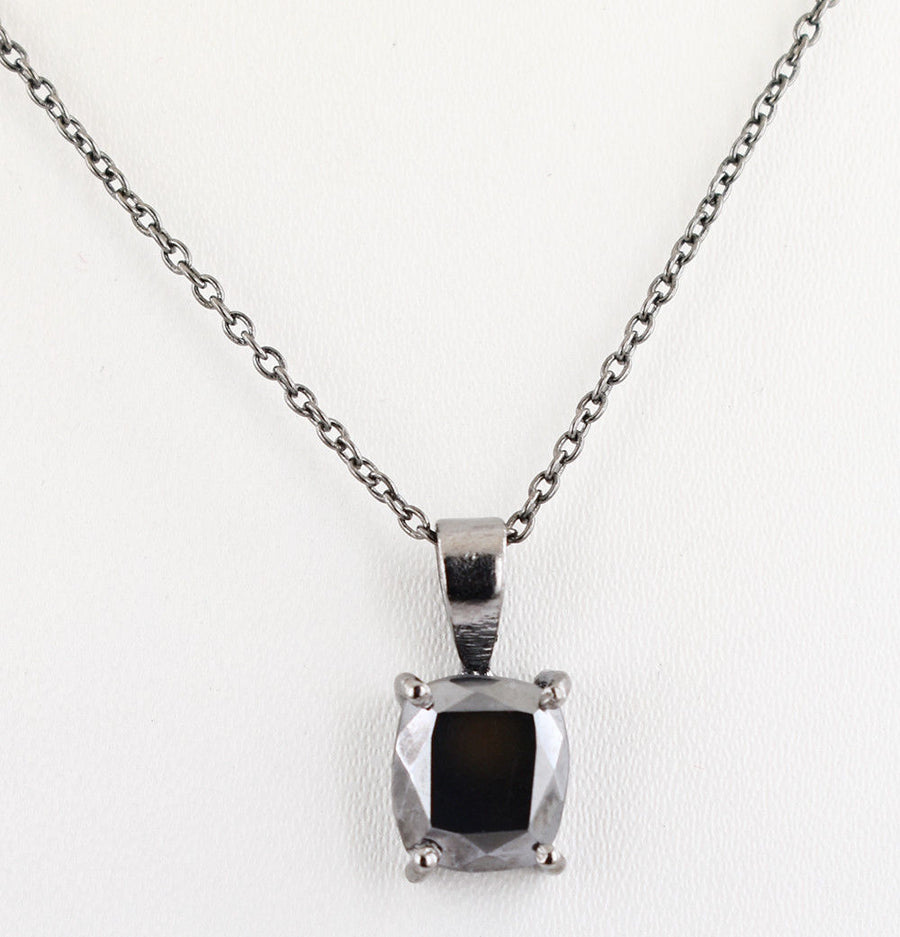 3 Ct Certified Black Diamond Cushion Cut Pendant, Excellent Shine & Luster - ZeeDiamonds