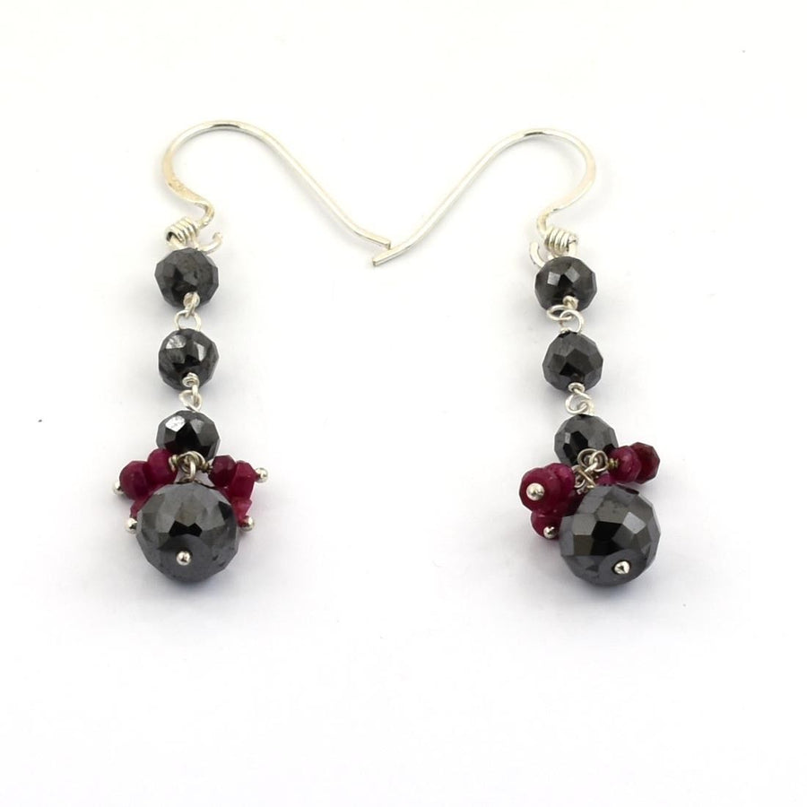 17.00 Ct Black Diamond & Ruby Dangler Drop Earrings - ZeeDiamonds