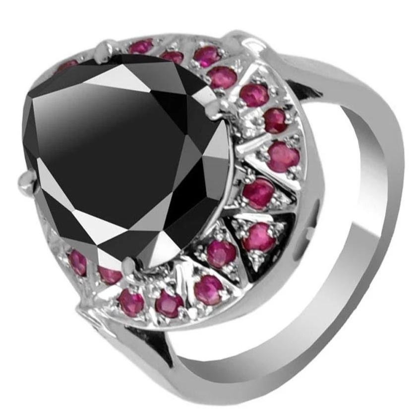 3 Ct AAA Certified Black Diamond Ring in 925 Silver With Ruby Accents - ZeeDiamonds