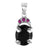 3.8 Certified Oval Cut Black Diamond Pendant with ruby accents