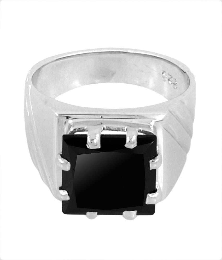 4.6 Cts Certified Princess Cut Black Diamond Men's Ring For Gift - ZeeDiamonds