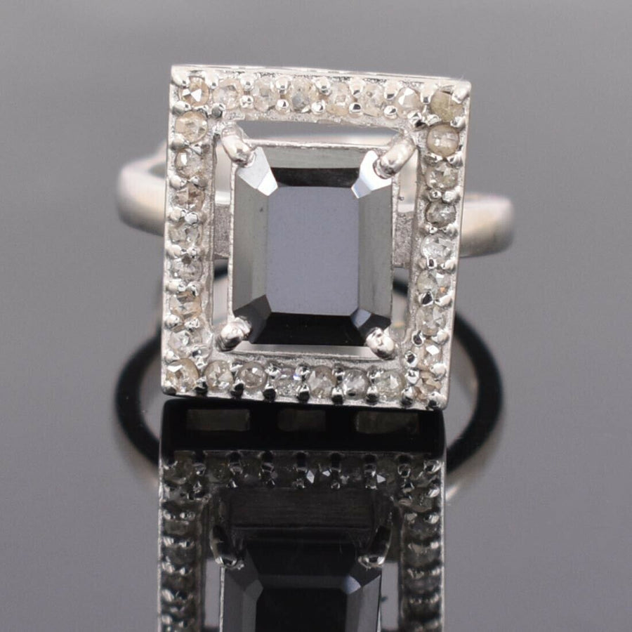 3.25 Ct Certified Black Diamond Beautiful Engagement Ring For Women's - ZeeDiamonds