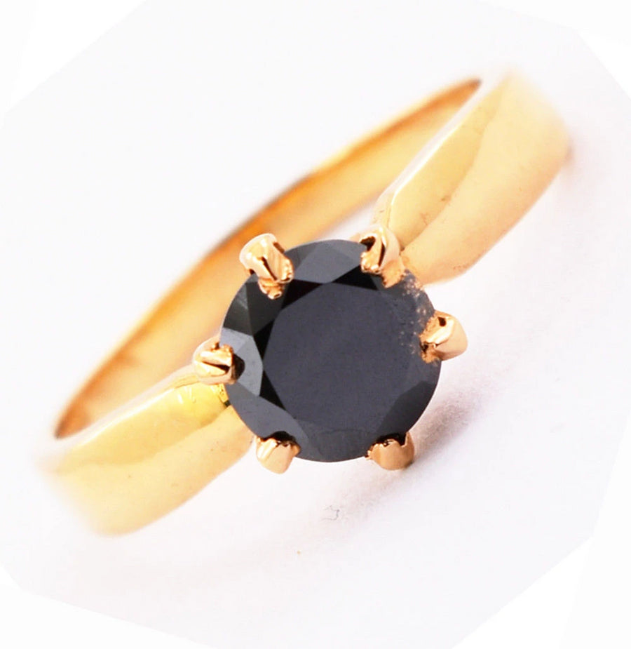 1.50 Ct Round Cut 100% Certified Black Diamond Solitaire Ring In Yellow Gold Finish - ZeeDiamonds