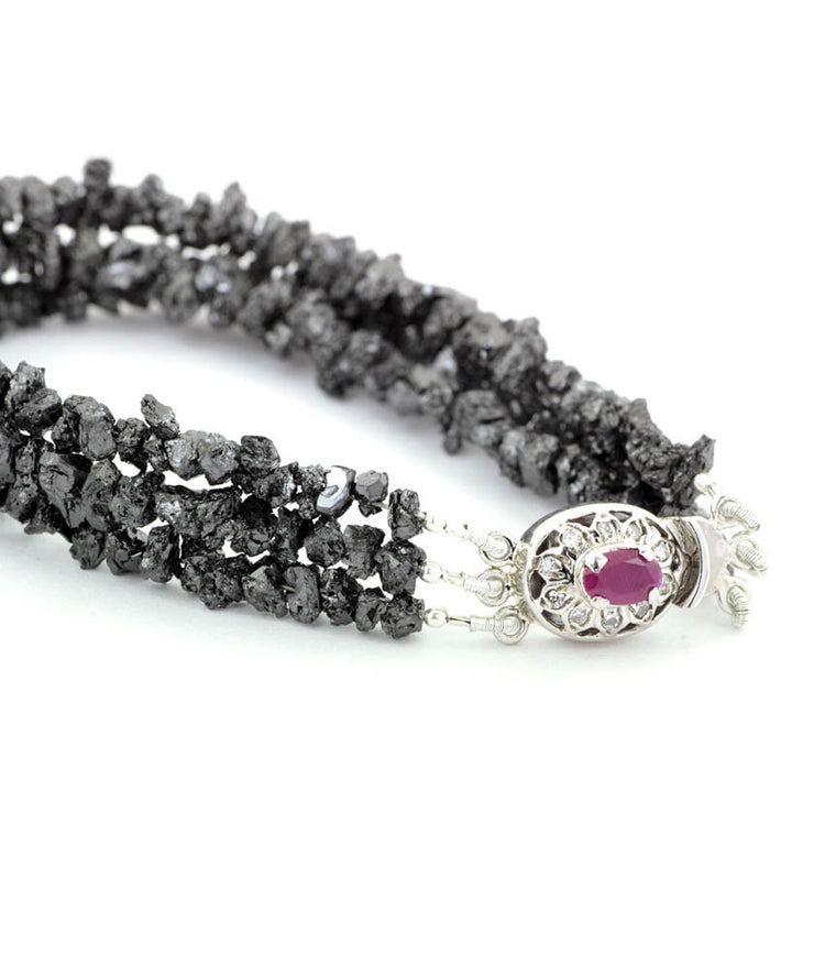 6-7 mm BLACK ROUGH DIAMOND BRACELET 7-9 inch