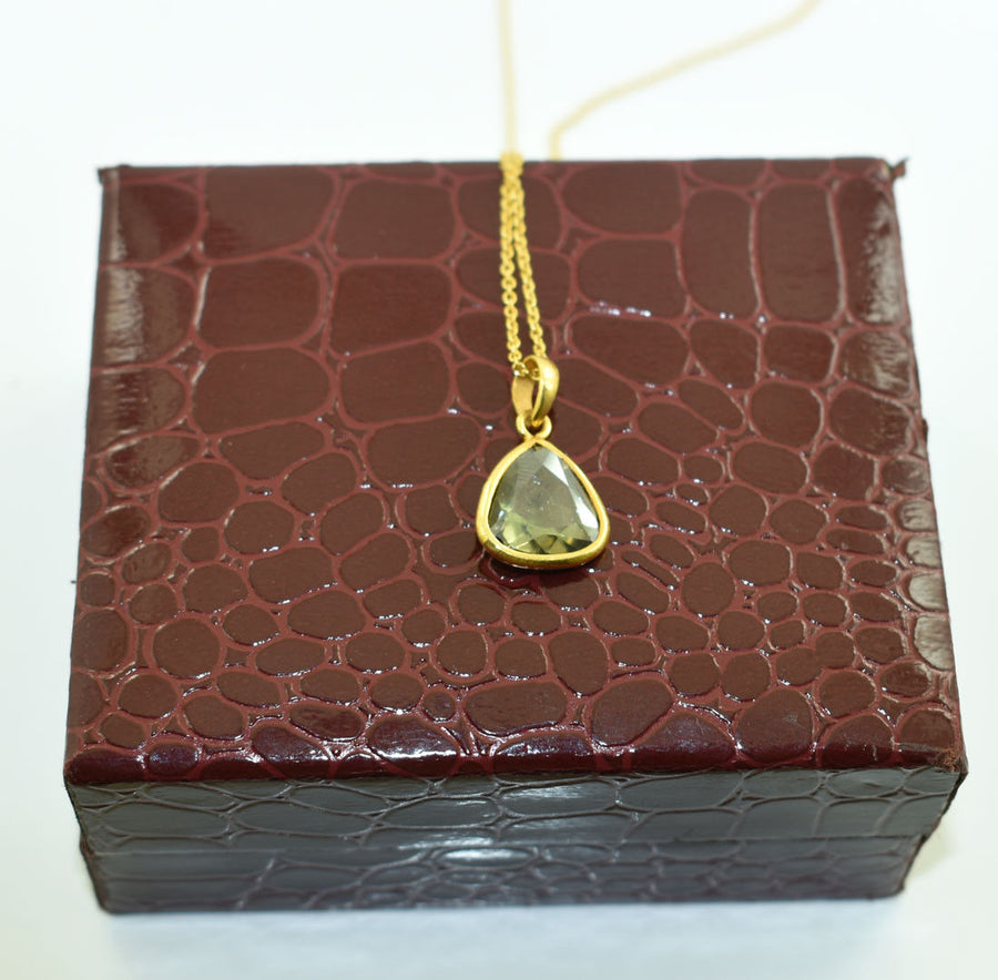 2.5 Carats Blue Diamond Pendant In Yellow Gold Finish For Gift - ZeeDiamonds