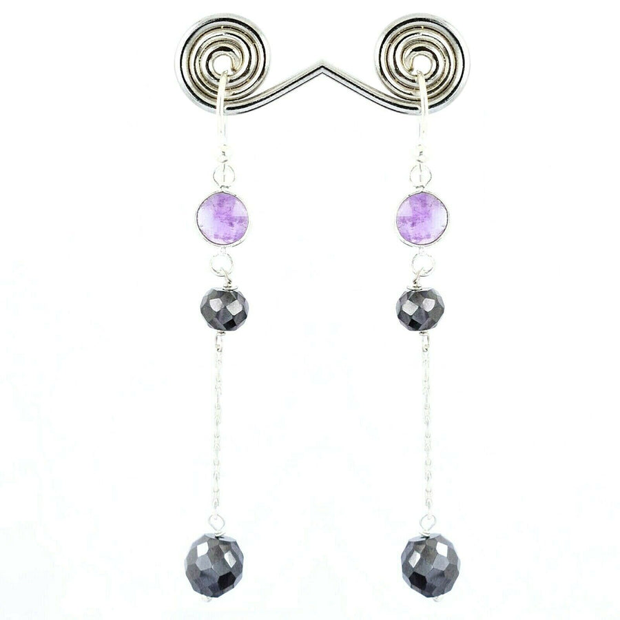 Black Diamond Dangler Chain Earrings With Amethyst In 925 Silver