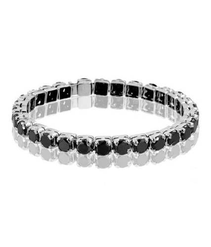 Black Diamond Tennis Bracelet in Sterling Silver, 7.5 inches
