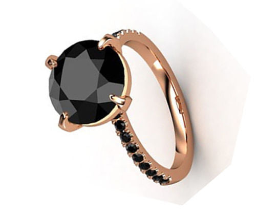 3 Ct AAA Certified, Black Diamond Ring With Black Accents in 925 Silver. - ZeeDiamonds