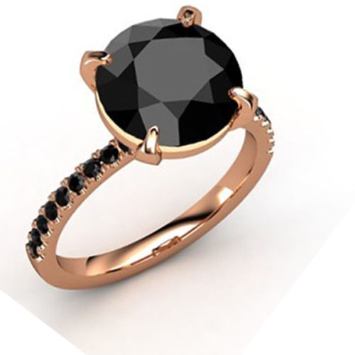 3 Ct AAA Certified, Black Diamond Ring With Black Accents in 925 Silver - ZeeDiamonds