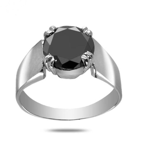 2.50 Ct Black Diamond Solitaire Ring In 925 Sterling Silver, Engagement Ring - ZeeDiamonds
