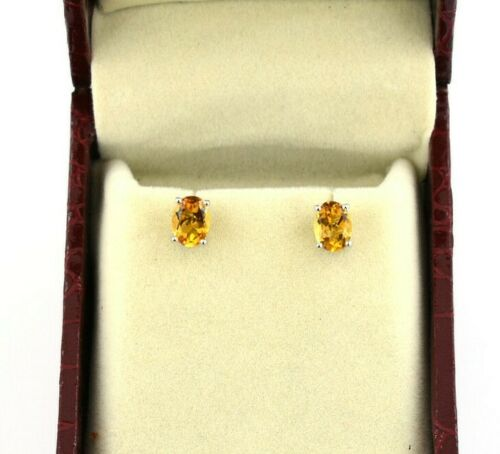 1.64 Grams 100% Certified Citrine Gemstone, Studs Earring In 925 Silver, Gift For Women - ZeeDiamonds