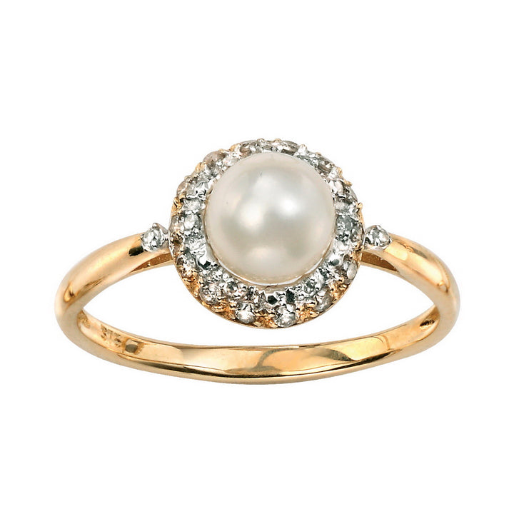 Pearl Gemstone Ring in 14 kt Gold With White Diamond Accents