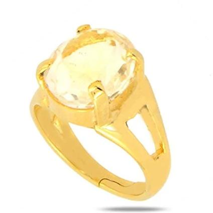 Men's Wear 5.25 Ratti Pukhraj Ring For Financial Growth Free Size - ZeeDiamonds