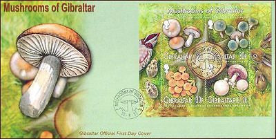 GIBRALTAR - 2003 MUSHROOMS / FUNGI -  Miniature sheet on FDC