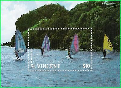 ST. VINCENT - 1988 WIND SURFING / YATCH / SHIPS - Miniature sheet - MINT NH