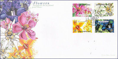 SINGAPORE SWITZERLAND JOINT ISSUE 2001 - FLOWERS - 4V - FDC