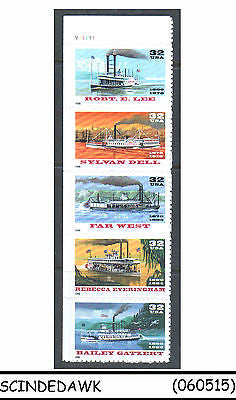 USA - 1996 RIVERBOATS ISSUE / BOATS / STEAMER - SE-TENANT 32c X 5 - MINT NH