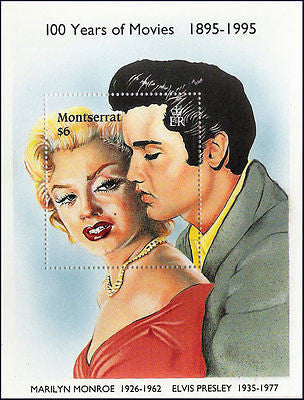 MONTSERRAT - 1995 100yrs of MOVIES/MARILYN MONROE & ELVIS PRESLEY M/S MNH