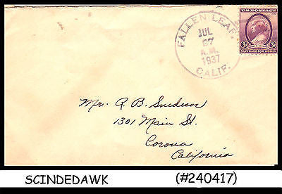 USA - 1937 ENVELOPE TO CALIFORNIA WITH SUSAN B ANTHONY STAMP