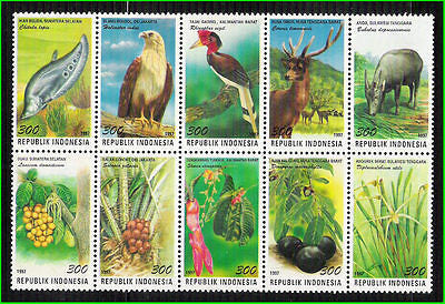 INDONESIA - 1997 FLORA & FAUNA / BIRDS ANIMALS FLOWER SE-TENANT 10V  MNH