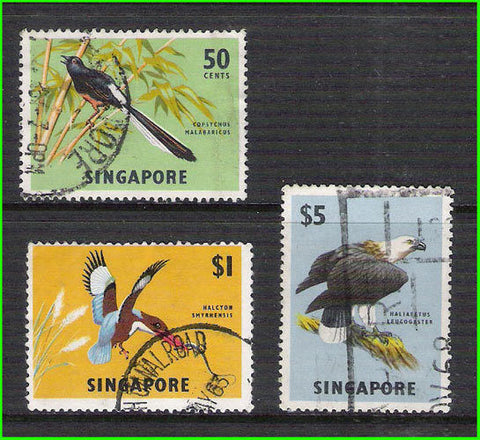 SINGAPORE - 1962 BIRD / BIRDS (High FACE VALUE stamps) - 3V - USED