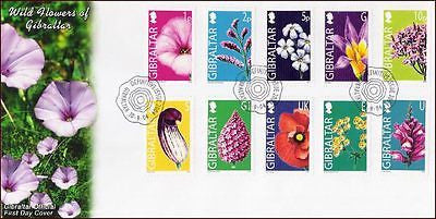 GIBRALTAR - 2004 WILD FLOWERS / DEFINITIVES  - 10V - FDC