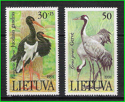 LITHUANIA - 1991 BIRDS / CRANE / BRID - 2V - MINT NH