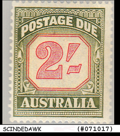 AUSTRALIA - 1953-54 2sh green and carmine SCOTT#J82 - 1V MINT NH