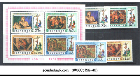 BARBUDA - 1978 EASTER 1978 / MICHELANGELO - SET OF 4-STAMPS & 1-MIN/SHT - MNH
