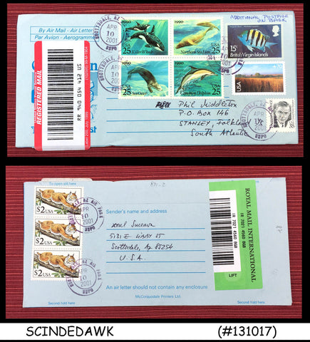 BRITISH VIRGIN ISLANDS 2001 REGISTERED AEROGRAMME with UNITED STATES USA STAMPS
